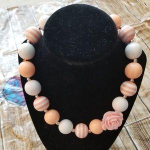 New Bubble Gum Bead Necklace Peach White